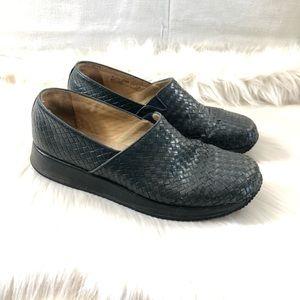 Clarks Dark Green Basket Weave Leather Loafers